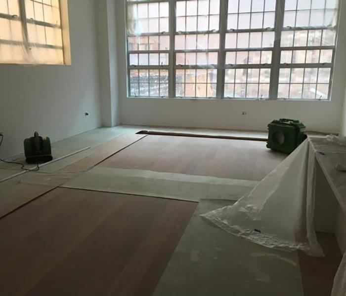 New Floor installation during water damage restoration
